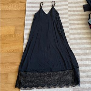 Silky black strappy dress